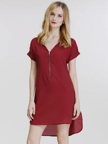 Wine Red V Neck Zipper Loose Dress