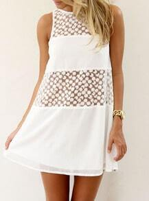White Sleeveless Sheer Lace Loose Dress