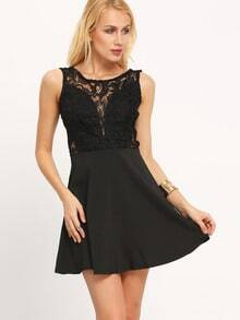 Black Sleeveless Backless Lace Ruffle Dress