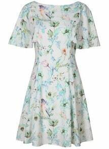 White Short Sleeve Backless Floral Dress