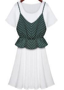 Green Spaghetti Strap Polka Dot Two Pieces Dress