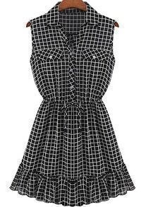 Black Lapel Sleeveless Plaid Ruffle Dress
