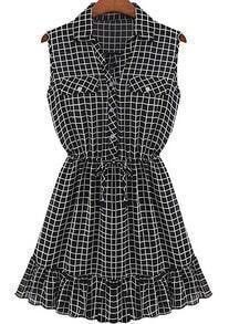 Black Lapel Sleeveless Plaid Ruffle Dress