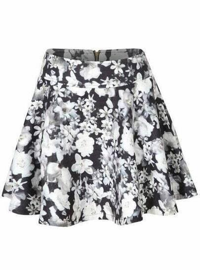 Black Floral Zipper Flare Skirt