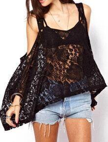 Black Strap Sheer Lace Loose Blouse