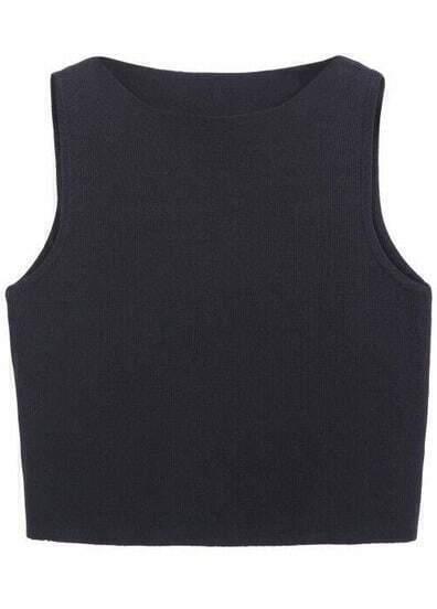 Black Round Neck Slim Knit Vest