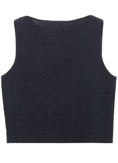 Knit Vest Pattern In The Round : Black Round Neck Slim Knit Vest -SheIn(Sheinside)