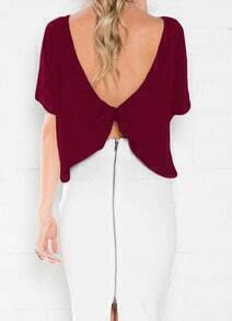 Wine Red Open Back T-Shirt