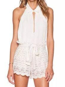 White Halter Backless Top With Tie-waist Lace Shorts