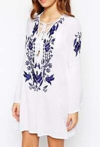 White Bell Sleeve Embroidered Lace Up Dress