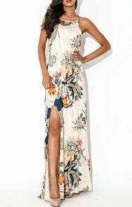 Apricot Sleeveless Front Split Florals Maxi Dress