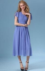 Blue Ruffle Sleeve Chiffon Bohemian Dress
