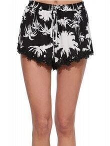 Black Drawstring Tropicals Print With Lace Shorts