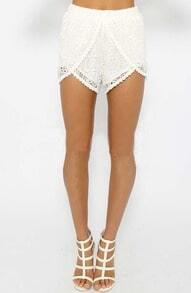 White Lace Crochet Hollow Shorts