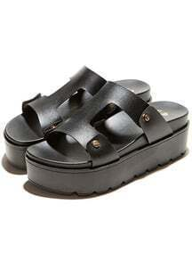 Black Heavy-bottomed PU Sandals