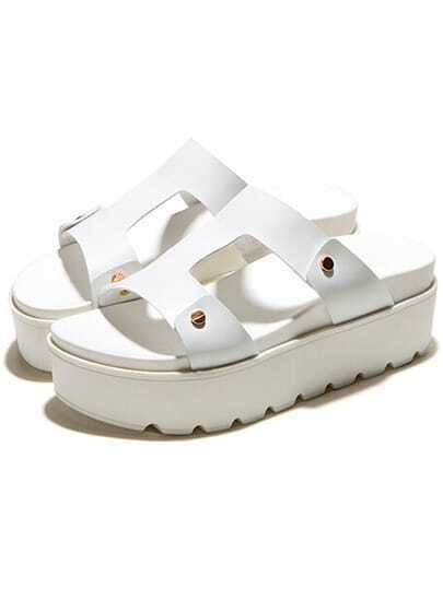 White Heavy-bottomed PU Sandals