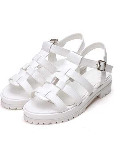 White PU Buckle Strap Sandals