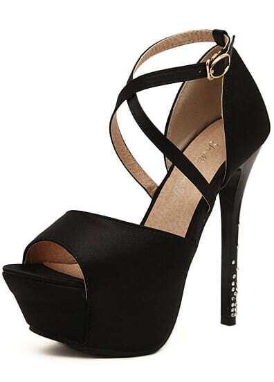 high heels mit riemen und plateau schwarz german shein. Black Bedroom Furniture Sets. Home Design Ideas
