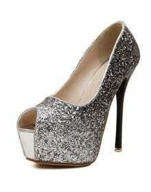 Black Glitter High Heeled Peep Toe Pumps