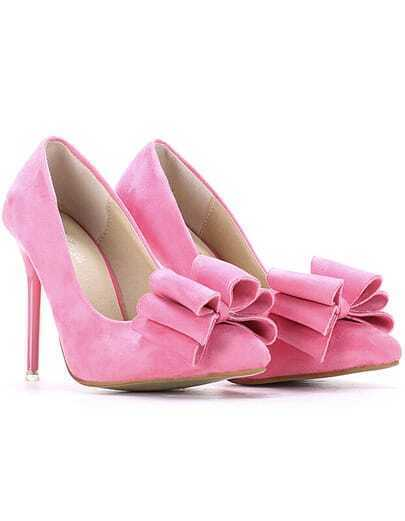 Pink With Bow High Heeled Pumps