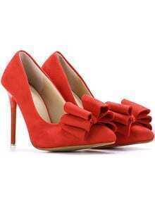 Red With Bow High Heeled Pumps