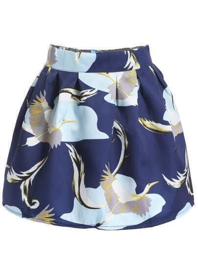 Navy Crane Print Flare Skirt