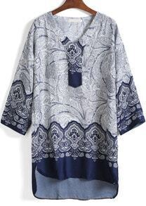 Blue V Neck Bohemian Print High Low Dress
