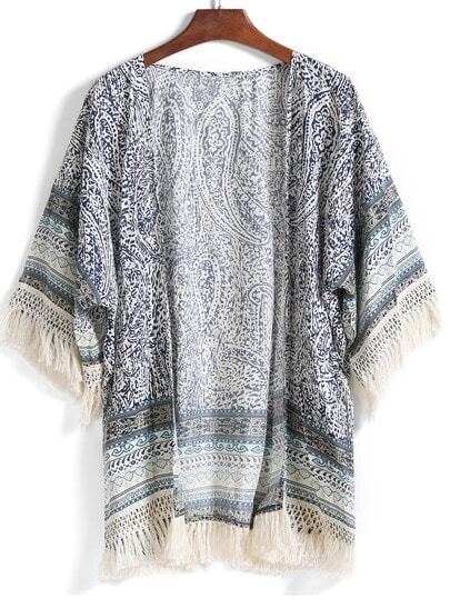 Blue With Tassel Paisley Print Kimono
