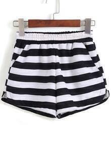 Black Elastic Waist Striped Shorts