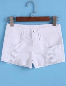 White Ripped Slim Denim Shorts