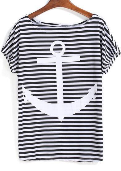 Black White Striped Anchors Print T-Shirt