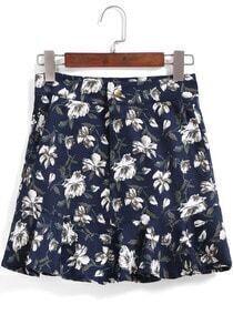 Navy Floral Ruffle Skirt