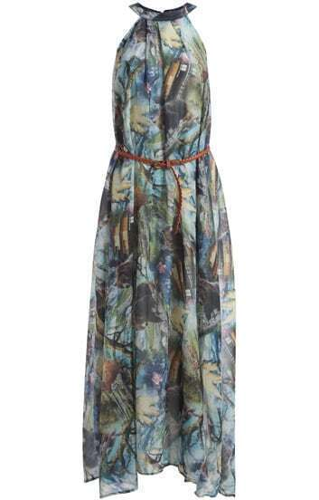 Multicolor Halter Animal Print Maxi Dress