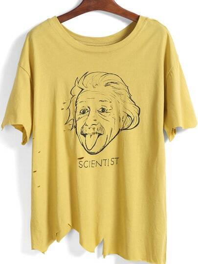 Yellow Letters Einstein Print Irresistible Ugly Hollow Asymmetrical T-Shirt