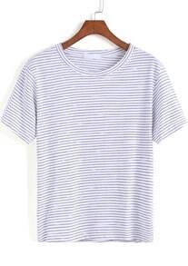 Blue White Short Sleeve Striped Loose T-Shirt