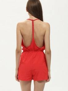 Red Halter V Neck Backless Playsuit