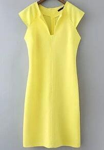 Yellow Sleeveless Split Slim Dress