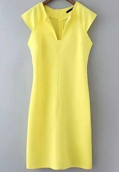 Yellow Lemon Sleeveless Split Slim Vest Dress