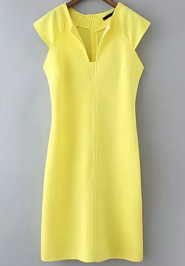 Yellow Lemon Sleeveless Split Slim Vest Dress -SheIn ...