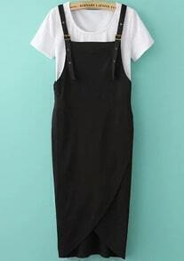 White Short Sleeve Loose Top With Black Pinafore Dress