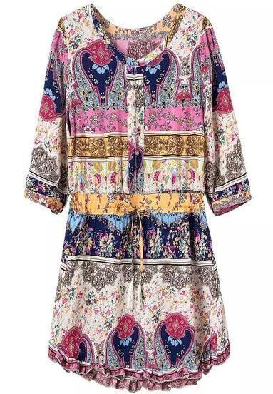 Multicolor Long Sleeve Floral Drawstring Loose Dress