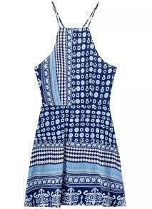 Blue Criss Cross Back Floral Dress