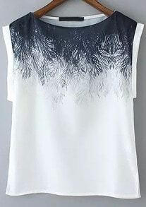 White Short Sleeve Floral Split T-Shirt