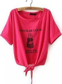 Rose Red Short Sleeve Letters Print Knotted T-Shirt