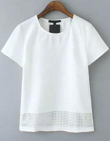 White Short Sleeve Hollow Casual T-Shirt