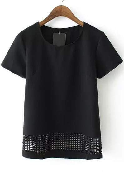 Black Short Sleeve Hollow Casual T-Shirt