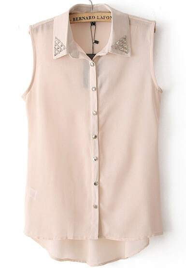 Apricot Lapel Sleeveless Bead Dip Hem Blouse