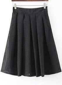 Black Plaid Pleated Skirt
