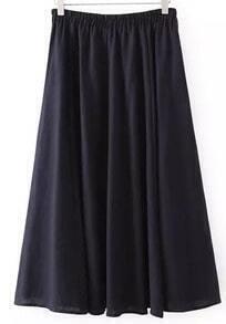 Navy Elastic Waist Pleated Long Skirt