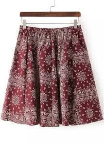 Wine Red Elastic Waist Floral Pleated Skirt